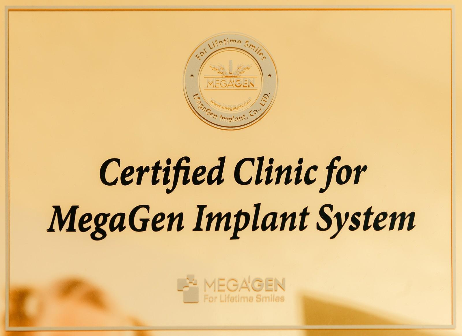 Certificate of the Korean company MegaGen. Awarded to the Dudko & Sons clinic as an official partner certificate, as an indicator of the use of only original components for dental implantation.