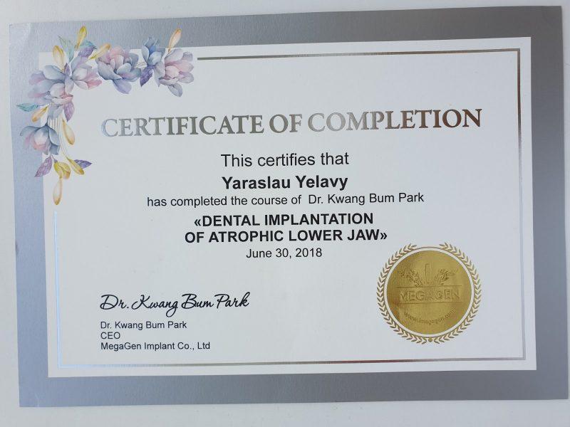 Сертификат выданный Еловому Ярославу Михайловичу о прохождении курса производителя Megagen - Имплантация при атрофии нижней челюсти