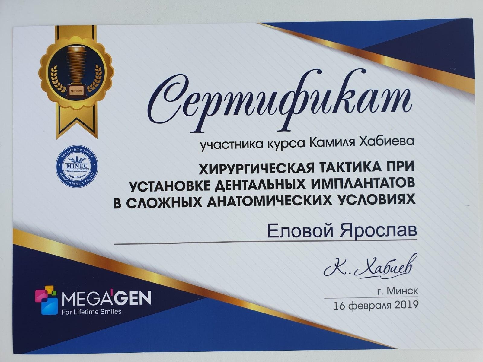 Сертификат выданный Еловому Ярославу о прохождении курса Хирургическая тактика при установке дентальных имплантатов в сложных условиях
