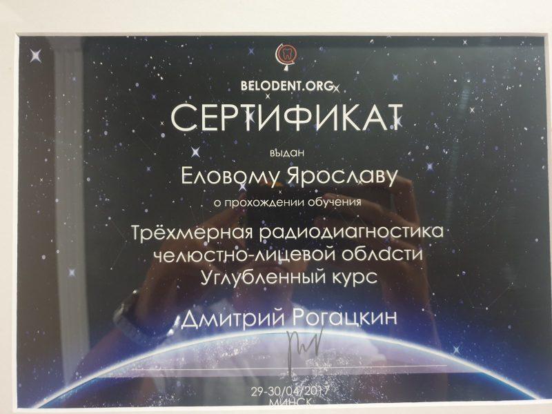 Сертификат выданный Еловому Ярославу о прохождении углубленного курса Трёхмерной радио-диагностики челюстно-лицевой области