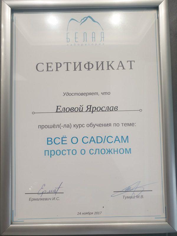 Сертификат выданный Еловому Ярославу о прохождении обучения по теме - Всё о CADCAM просто о сложном