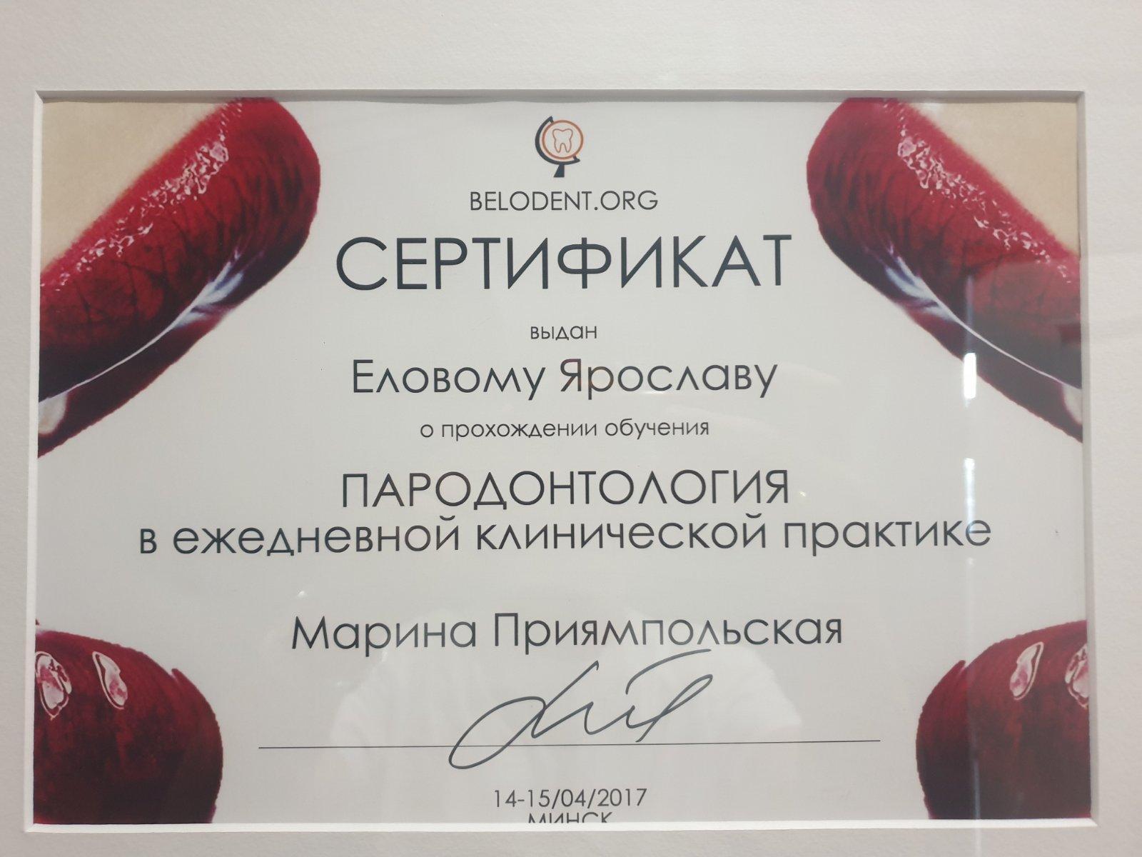 Сертификат выданный Еловому Ярославу Михайловичу о прохождении обучения курса - Пародонтология в ежедневной клинической практике