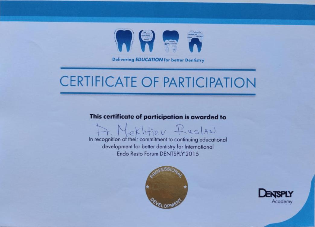 Сертификат Dentsply выдан Мехтиеву Руслану за участие в международном форуме восстановительной эндодонтии