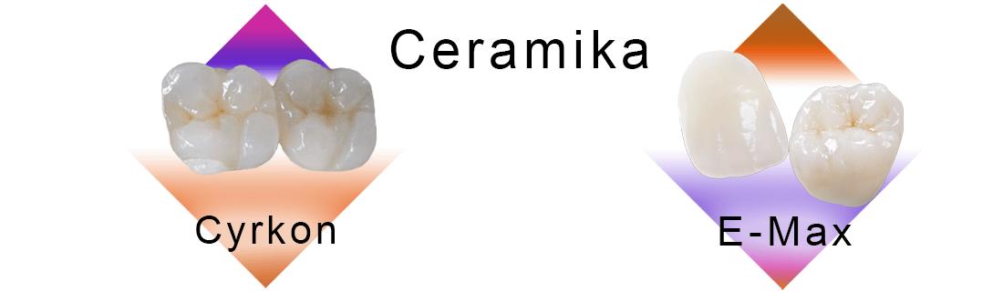 Korony ceramiczne z cyrkonu i E-Max wpisane w romby na białym tle