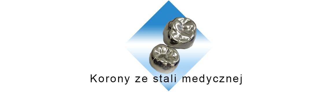 Korona medyczna ze stali wpisana w romb na białym tle